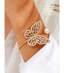 pulseras de diamantes huecos de perlas de mariposa de oro