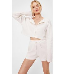 womens cropped button down shirt and shorts pajama set - cream