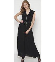 vestido largo con cierre negro 609seisceronueve
