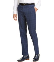 bar iii men's slim-fit stretch blue plaid suit pants, created for macy's