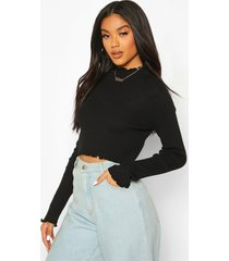 knitted ruffle detail crop top, black