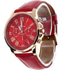 reloj mujer analogo numeros romanos - color rojo