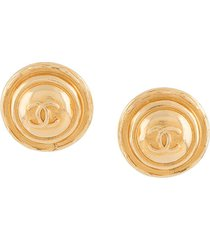 chanel pre-owned 1980s oversized cc clip-on earrings - gold