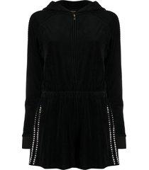 juicy couture hooded embellished romper - black