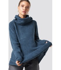 trendyol high collar knitted sweater - blue
