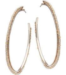 silvertone & goldtone crystal lace hoop earrings