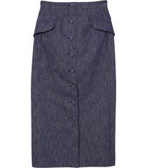 carolina herrera button-front mid-length skirt - blue