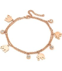 steeltime 18k micron rose gold plated stainless steel elephant charm adjustable anklet