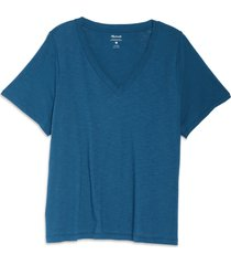 plus size women's madewell whisper cotton v-neck t-shirt, size 3x - blue