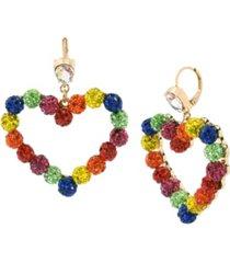 """betsey johnson rainbow stone fireball heart drop earrings in gold-tone metal, 2"""""""