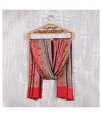 reversible modal jacquard shawl, 'paisley extravagance' (india)