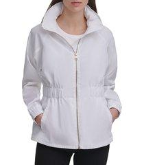karl lagerfeld paris women's water-resistant peplum jacket - black - size xs