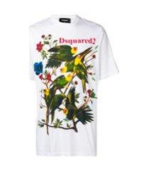 dsquared2 camiseta com estampa de pássaros - branco
