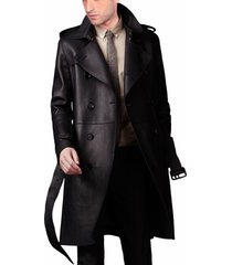men leather coat winter long  leather coat genuine real leather trench coat-uk20