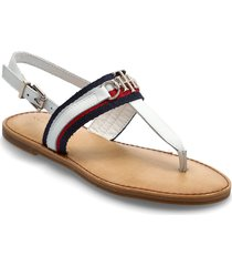 shimmery ribbon flat sandal shoes summer shoes flat sandals svart tommy hilfiger