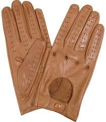 forzieri designer women's gloves, women's tan perforated italian leather driving gloves