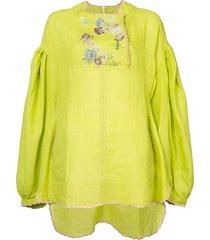 natasha zinko embroidered detail kaftan blouse - yellow