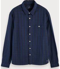scotch & soda oxford-overhemd met lange mouwen en patroon van 100% katoen