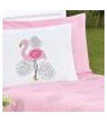 porta travesseiro flamingo rosa ione enxovais 1 peça
