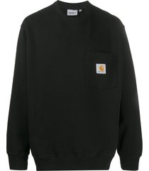 carhartt wip logo patch chest pocket sweatshirt - black