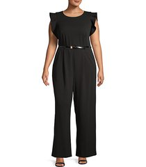 plus flutter-sleeve roundneck jumpsuit