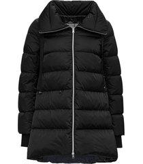 herno flared a-shape black down jacket