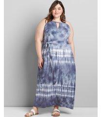lane bryant women's twist-neck maxi dress 14/16p blue tie dye