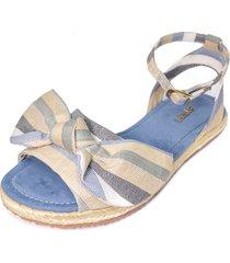 sandalia plana lona rayas azul stefi calzado