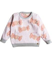 suéter tricô balas e pérolas mini lady