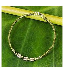 silver accent wristband bracelet, 'bamboo bracelet in olive' (thailand)