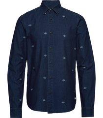 indigo shirt with artworks overhemd casual blauw scotch & soda