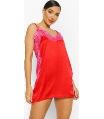 contrasterende pyjama blouse met kanten zoom, red