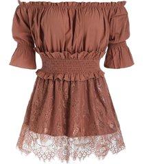 bare shoulder ruffled trim skirted blouse