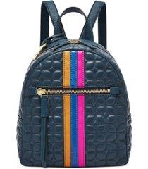 fossil megan leather stripe backpack