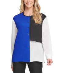 dkny colorblocked button-up top