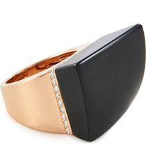 'sauvage prive' diamond black jade 18k rose gold ring