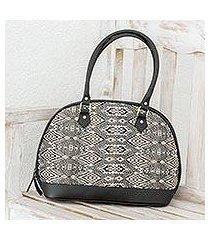 leather accent cotton bowling handbag, 'sand waves' (guatemala)