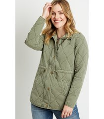 maurices womens green quilted cinched waist jacket