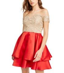 b darlin juniors' off-the-shoulder embroidered & satin dress