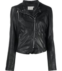 gestuz distressed biker jacket - black