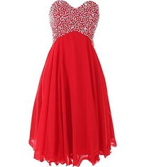 blevla sweetheart sequined short chiffon cocktail prom dress formal gown red ...