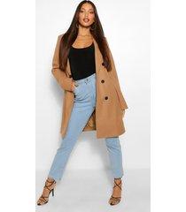 lange wol-look jas met dubbele knoopsluiting, kameel