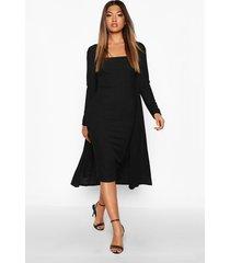 ribbed midi dress & duster set, black