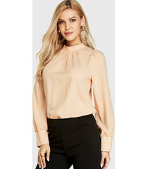 yoins beige pleated design stand collar long sleeves blouse