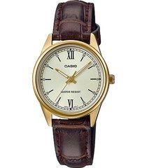reloj casio ltp_v005gl_9b marrón cuero