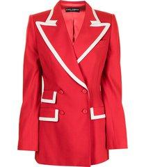 dolce & gabbana contrast-trim wraparound blazer jacket - red