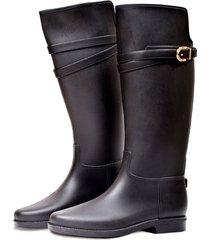 botas de lluvia impermeable infinity buckle bottplie - negro