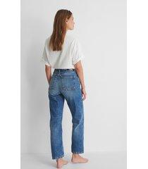 calvin klein raka jeans med hög midja - blue