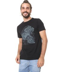 camiseta fiveblu manga curta wave preta - preto - masculino - algodã£o - dafiti