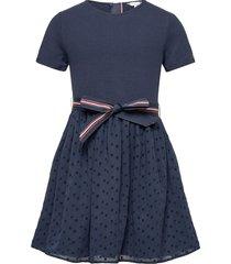 combi dress s/s jurk blauw tommy hilfiger